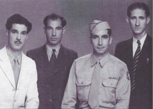 Edward Hanania, Khamis Hanania, George Hanania, Farid Hanania during World War II, 1942 in Jerusalem Palestine where they were born. George served in the U.S. 5th Army assigned to the Office of Strategic Services (OSS). Photo courtesy of Ray Hanania